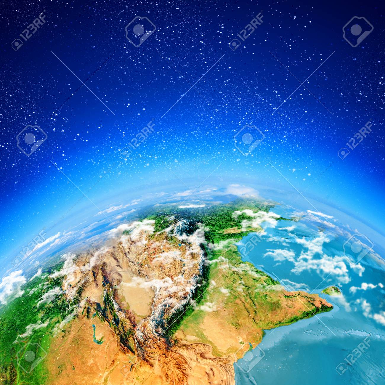 Sun rising above Earth planet  Conceptual photo  Elements of this image are furnished by NASA Stock Photo - 23500427