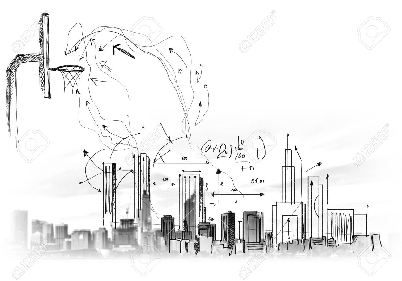 Background image with sketches and drawings on grey wall stock photo 24647988