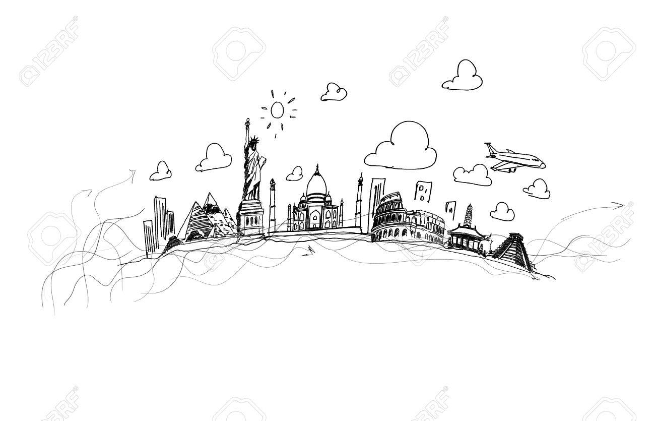 Background sketch image with drawings travel concept stock photo 24648209