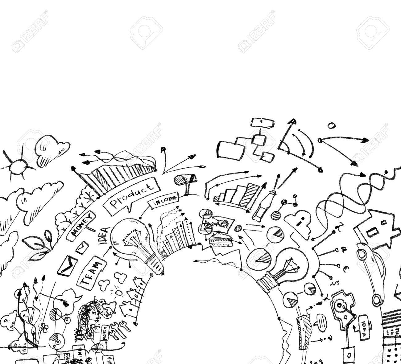 Background image with business strategy drawings marketing idea stock photo 24970870