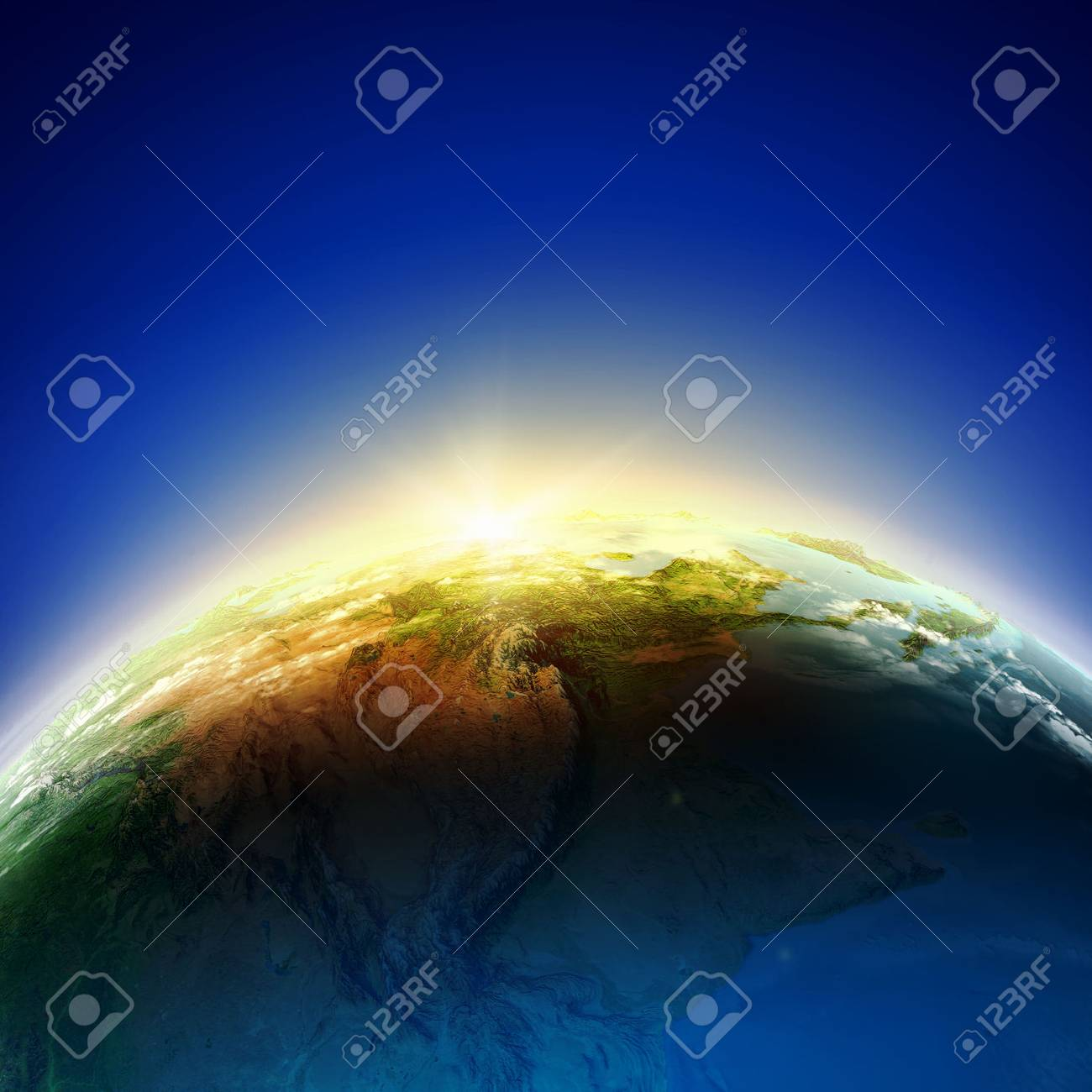 Sun rising above Earth planet  Conceptual photo Stock Photo - 24949356