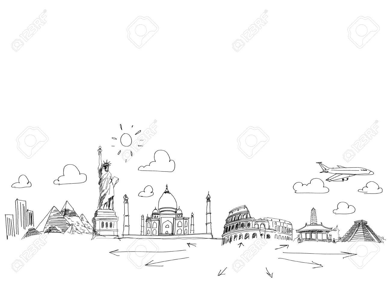 Background sketch image with drawings travel concept stock photo 24949239
