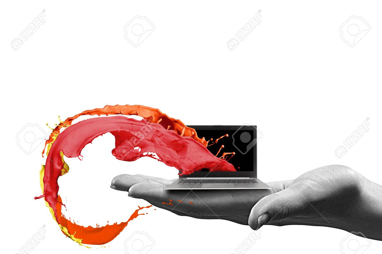 Close up of human hand holding laptop - 24983461