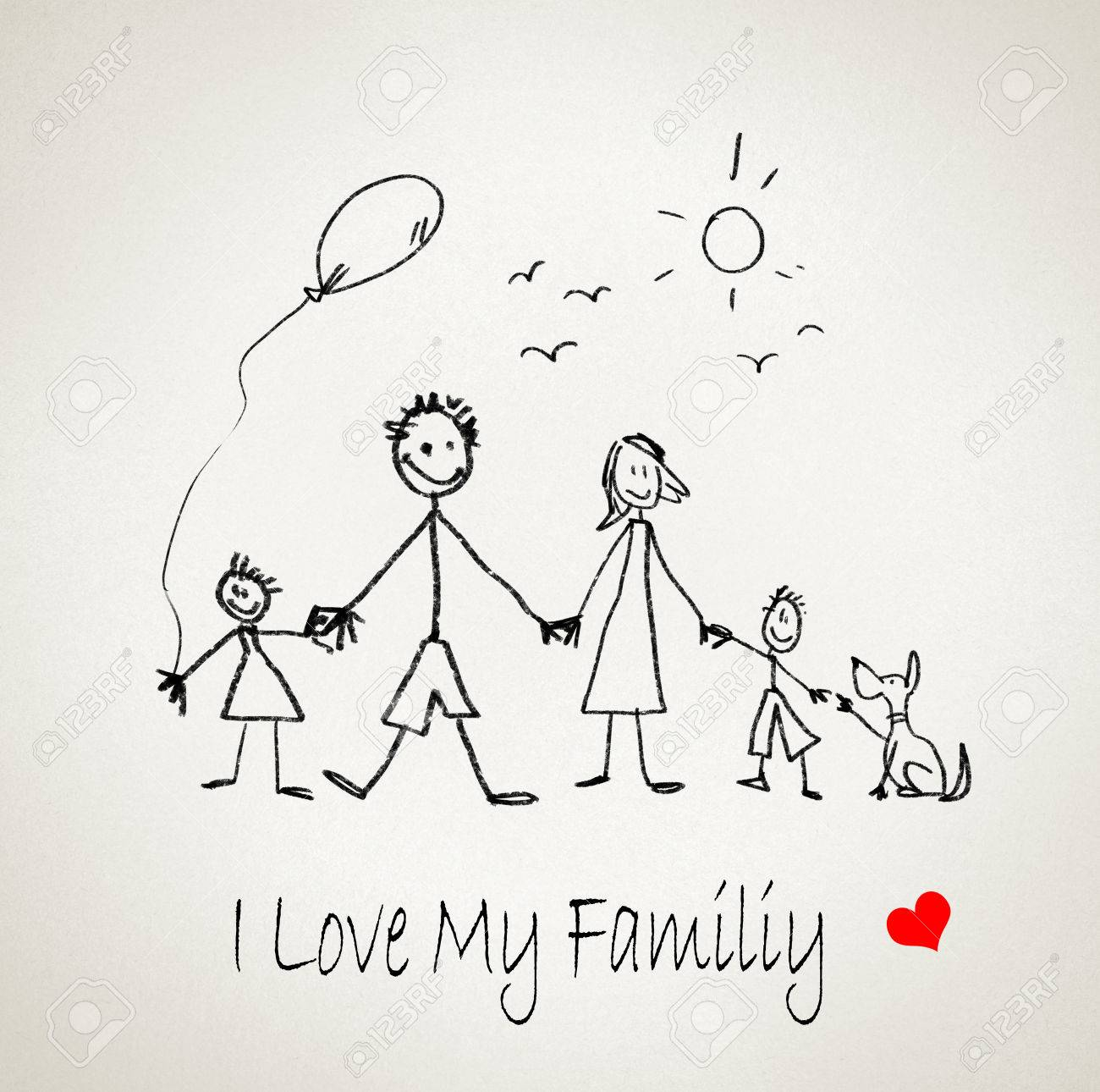 Sketch Lustiges Bild Von Glücklichen Eltern Und Kinder Lizenzfreie ...