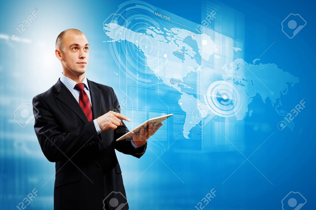 Image of businessman with tablet pc against media background Stock Photo - 25030348