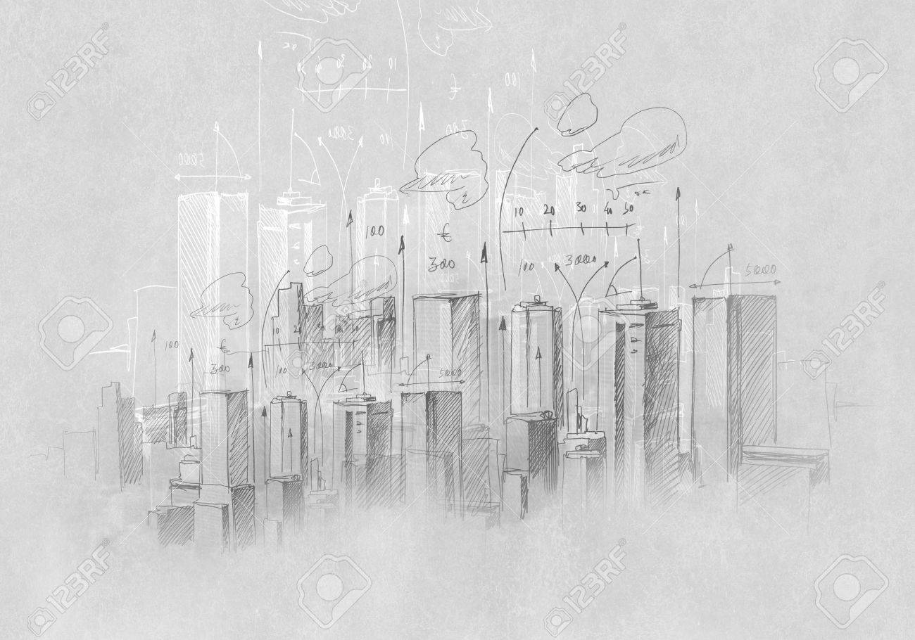 Background sketch image of construction project drawn with pencil stock photo 26045175