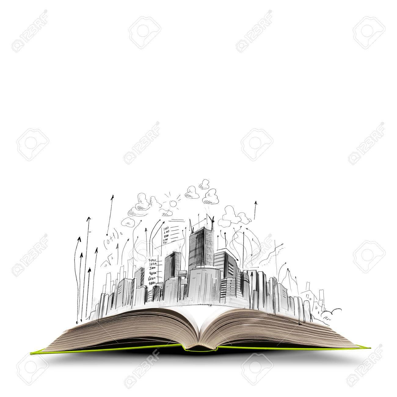 Livre Ouvert Et Les Croquis De Construction Dessin A Main