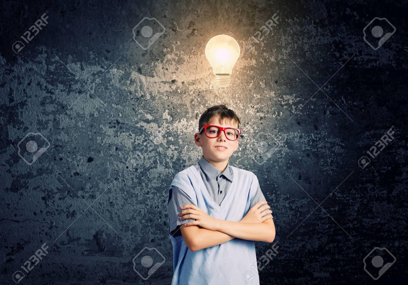 Boy of school age in glasses  Idea concept Stock Photo - 29027638