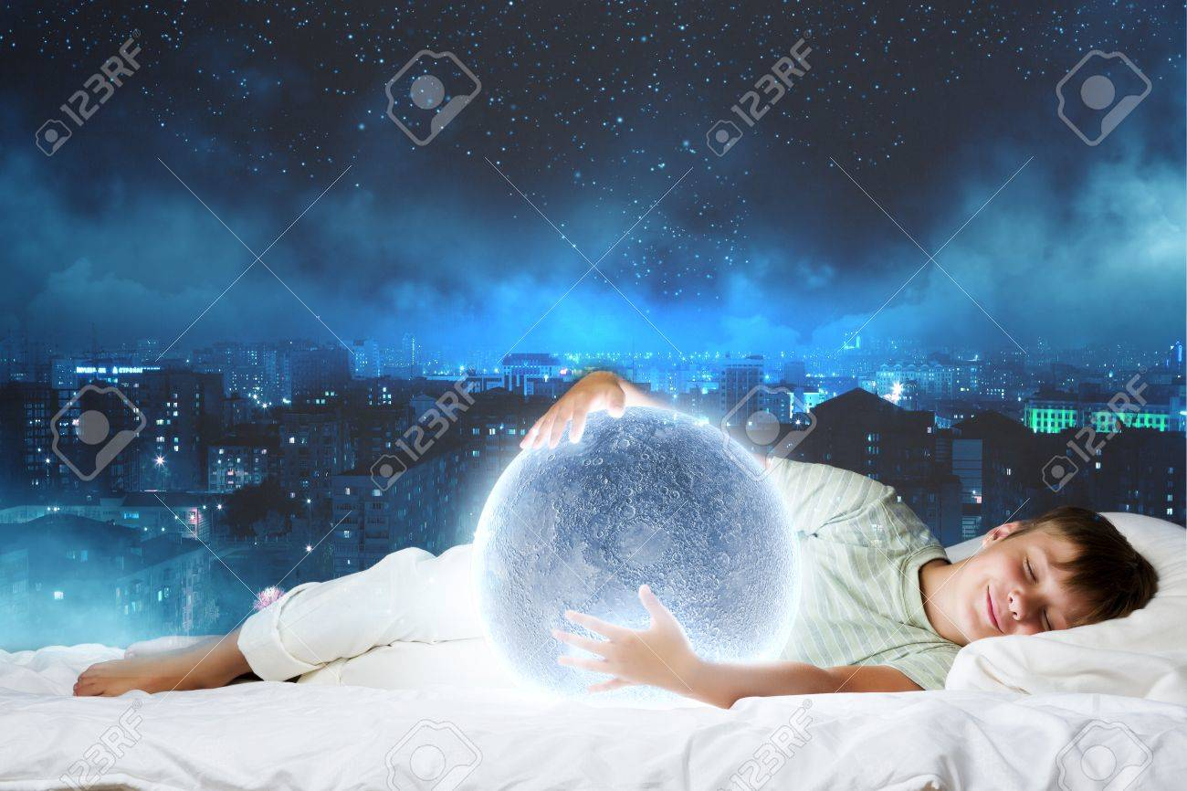 Cute Boy Sleeping In Bed With Moon Stock Photo Picture And Royalty