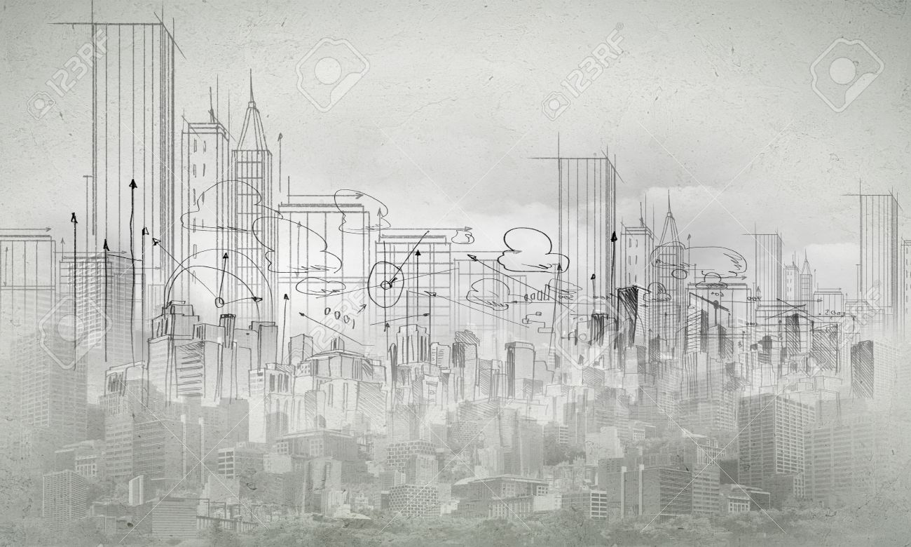 Background image with urban construction pencil sketch stock photo 29132663