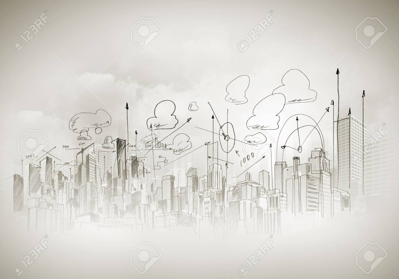 Background image with urban construction pencil sketch stock photo 29398084