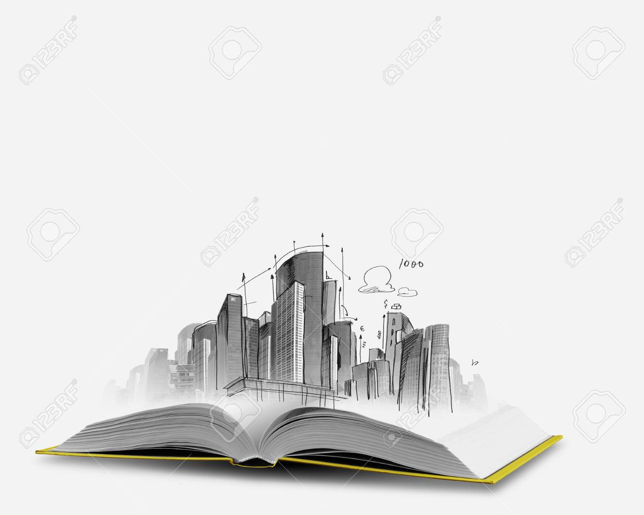 opened book and hand drawing building sketches stock photo picture
