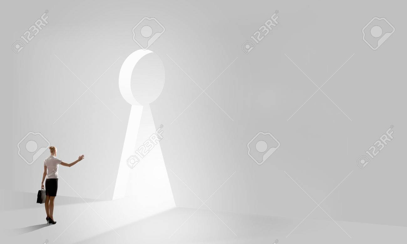 Back view of businesswoman standing in keyhole doorway Stock Photo - 38195795 & Back View Of Businesswoman Standing In Keyhole Doorway Stock Photo ...