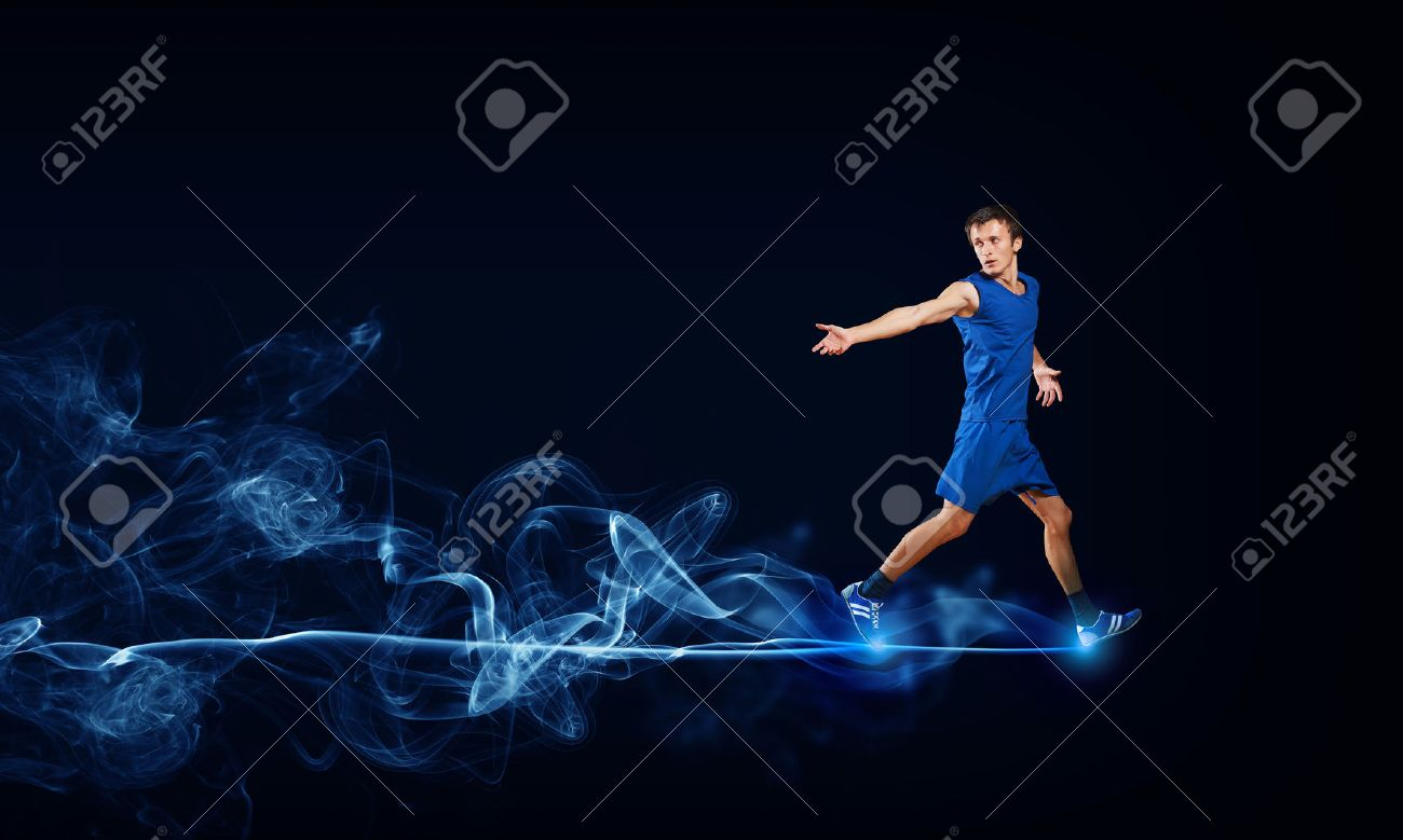 Sports background stock photos pictures royalty free sports running man in blue sport wear on black background voltagebd Choice Image