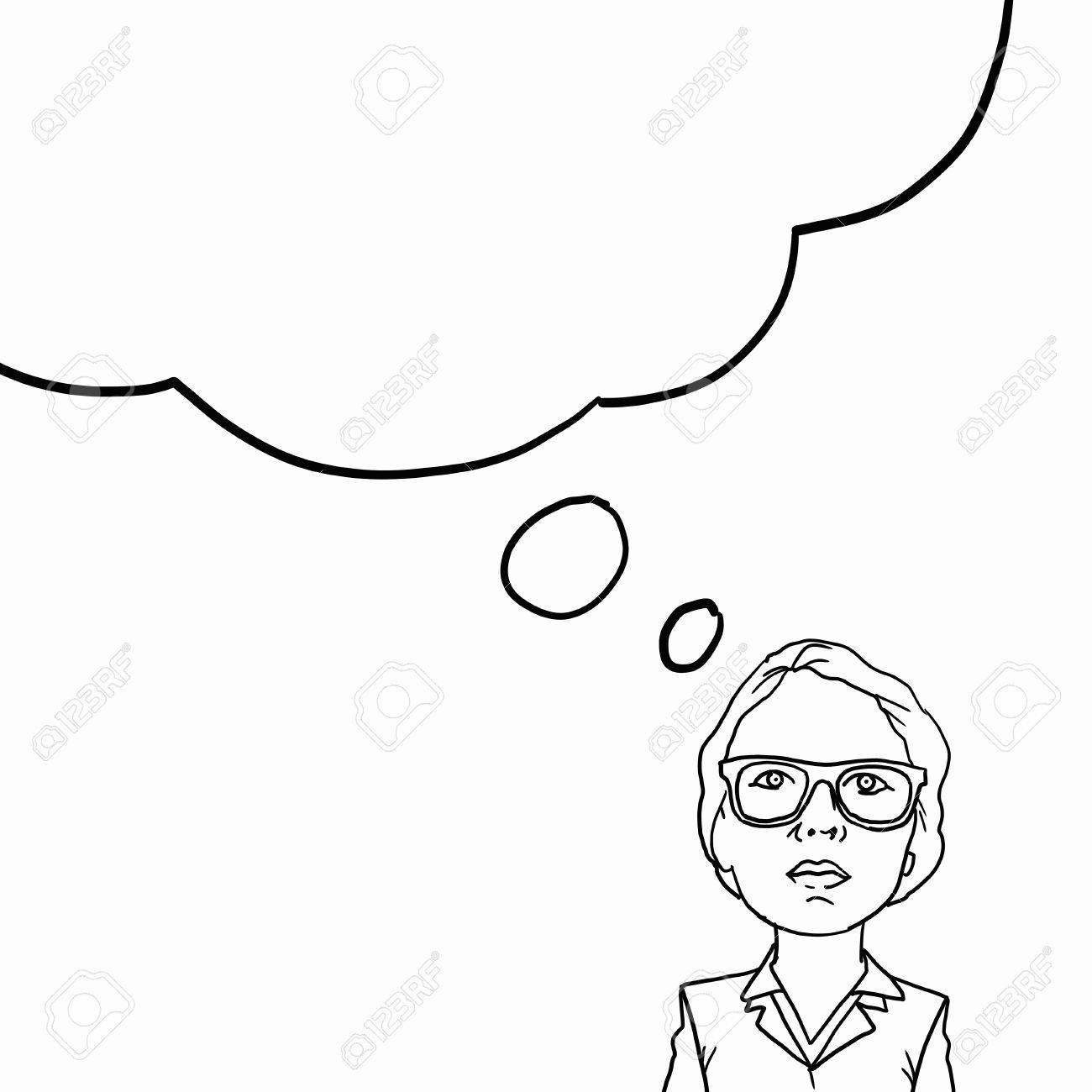 Sketch Of Successful Businesswoman Concept With Blank Bubble