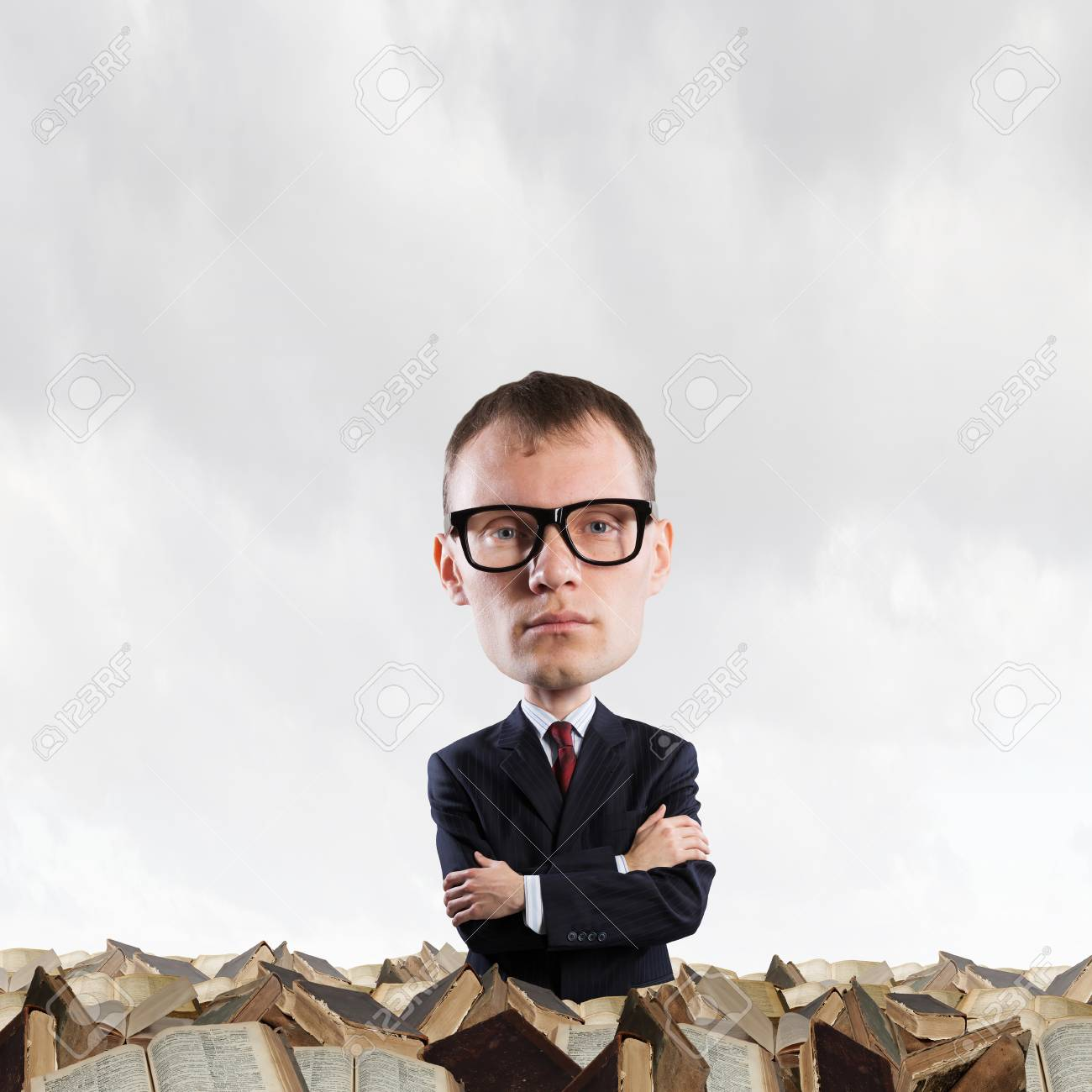 2ecee87e3a Stock Photo - Young funny man in glasses with big head