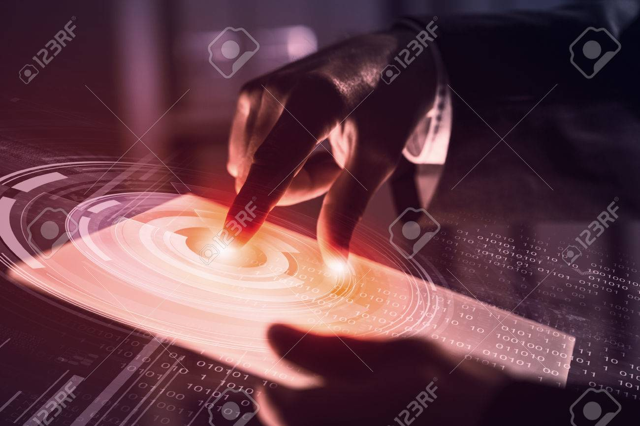 Businessman pressing modern technology panel with finger print reader Stock Photo - 45034185