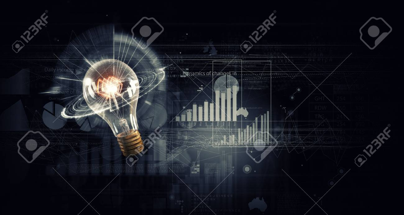 Conceptual Image With Light Bulb On Background Of Diagrams And Diagram Incandescent Graphs Stock Photo 45602840