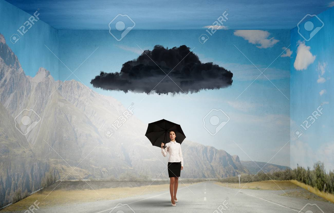 Young businesswoman with black umbrella standing under black cloud - 45825479