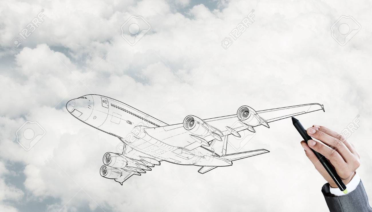 Dessin Modele D Avion Sur Fond De Ciel Personne Banque D Images Et Photos Libres De Droits Image 48092063