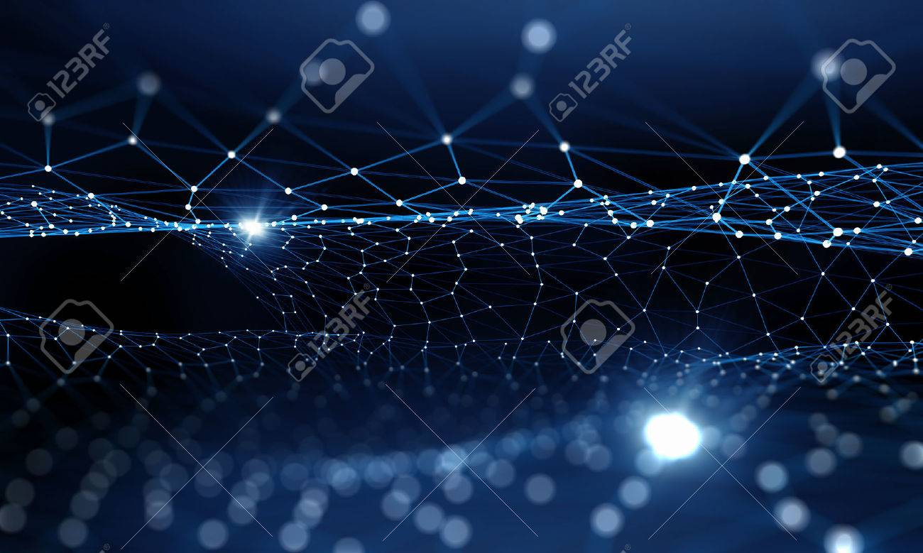 Blue virtual technology background with lines and grids - 50225248