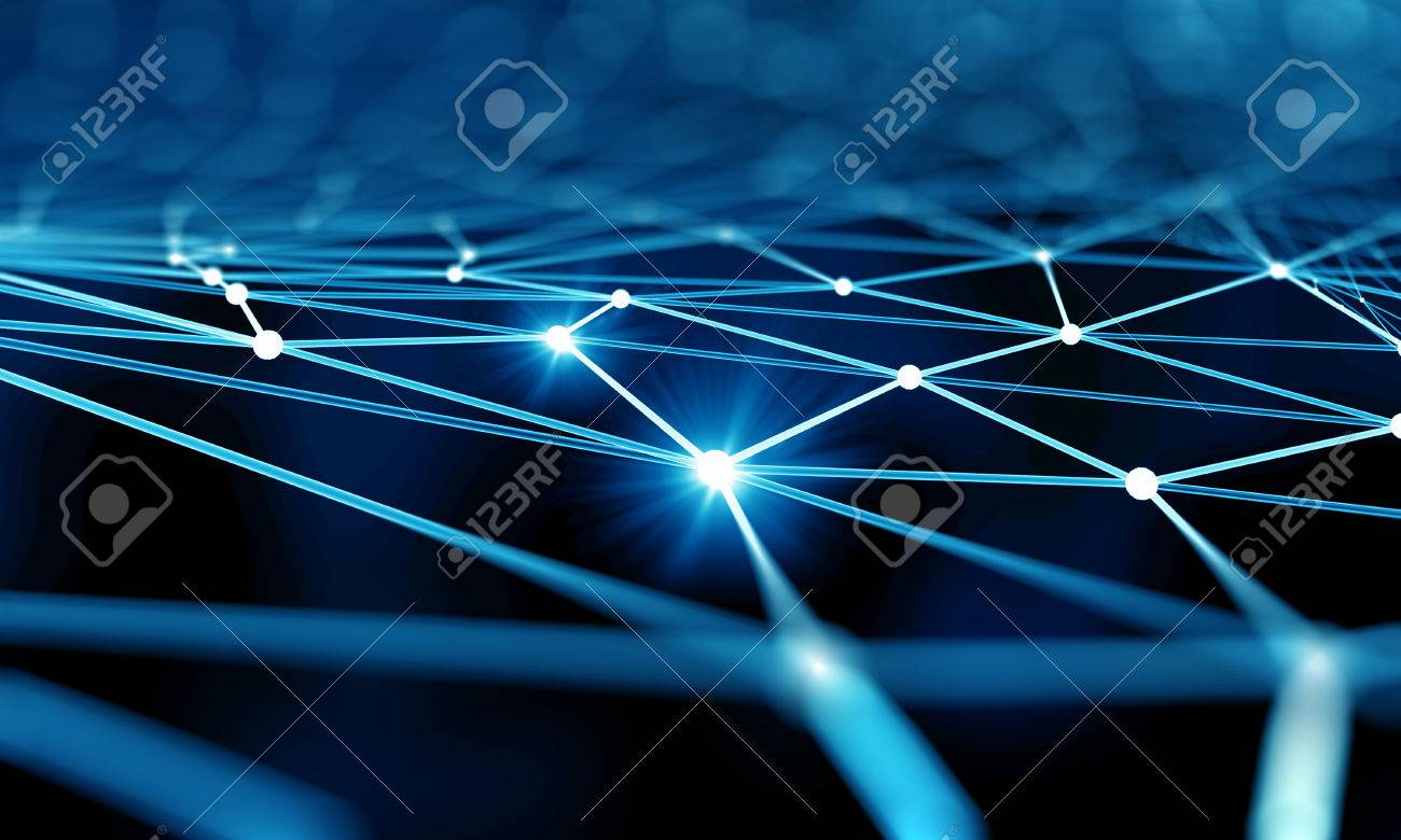 Blue virtual technology background with lines and grids - 49816829