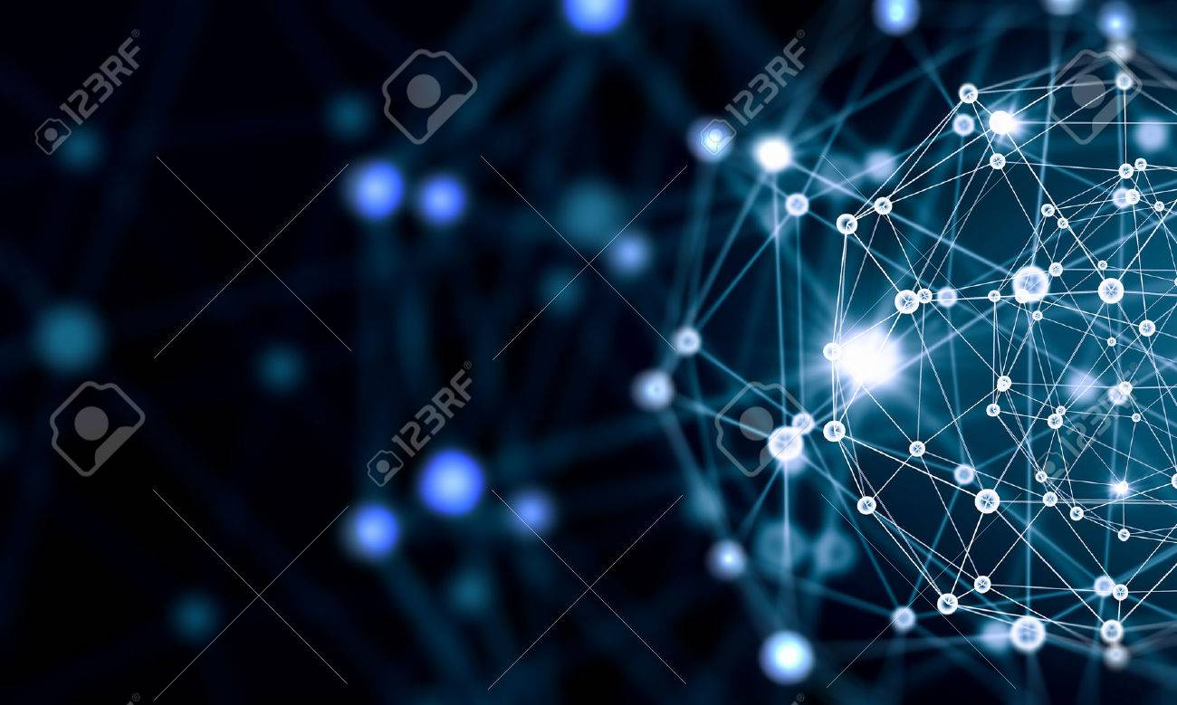 Blue virtual technology background with lines and grids - 50091090