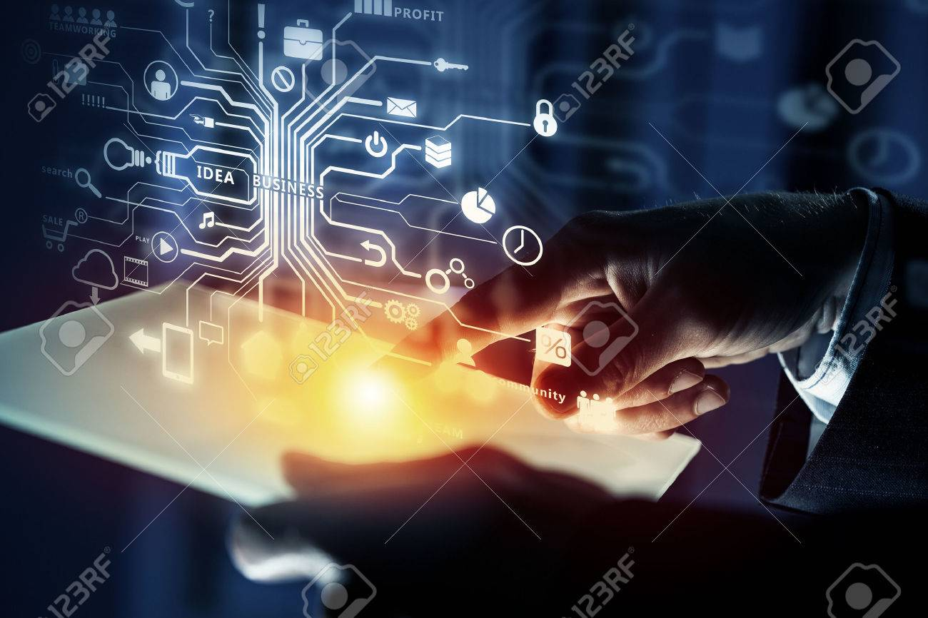 Close up of businessperson using tablet representing cloud computing concept Stock Photo - 50359326