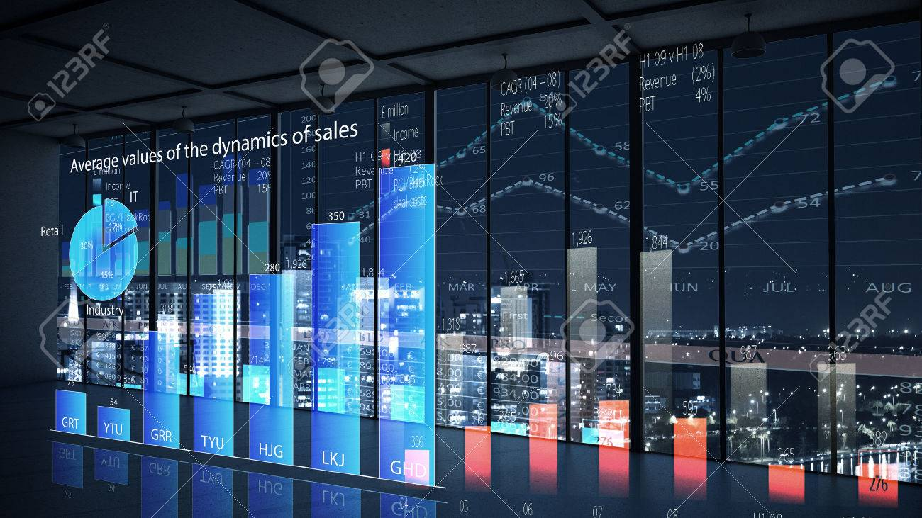 Modern office window view with virtual market infographs Stock Photo - 50599446