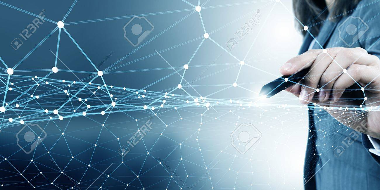 Businesswoman hand drawing digital connection lines on virtual screen - 50599447