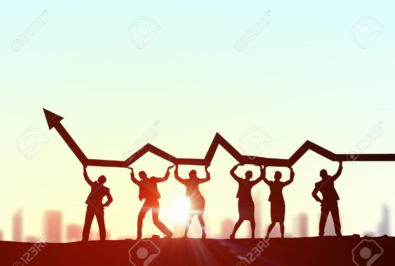 Business people lifting rising arrow representing collaboration concept Stock Photo - 50683079