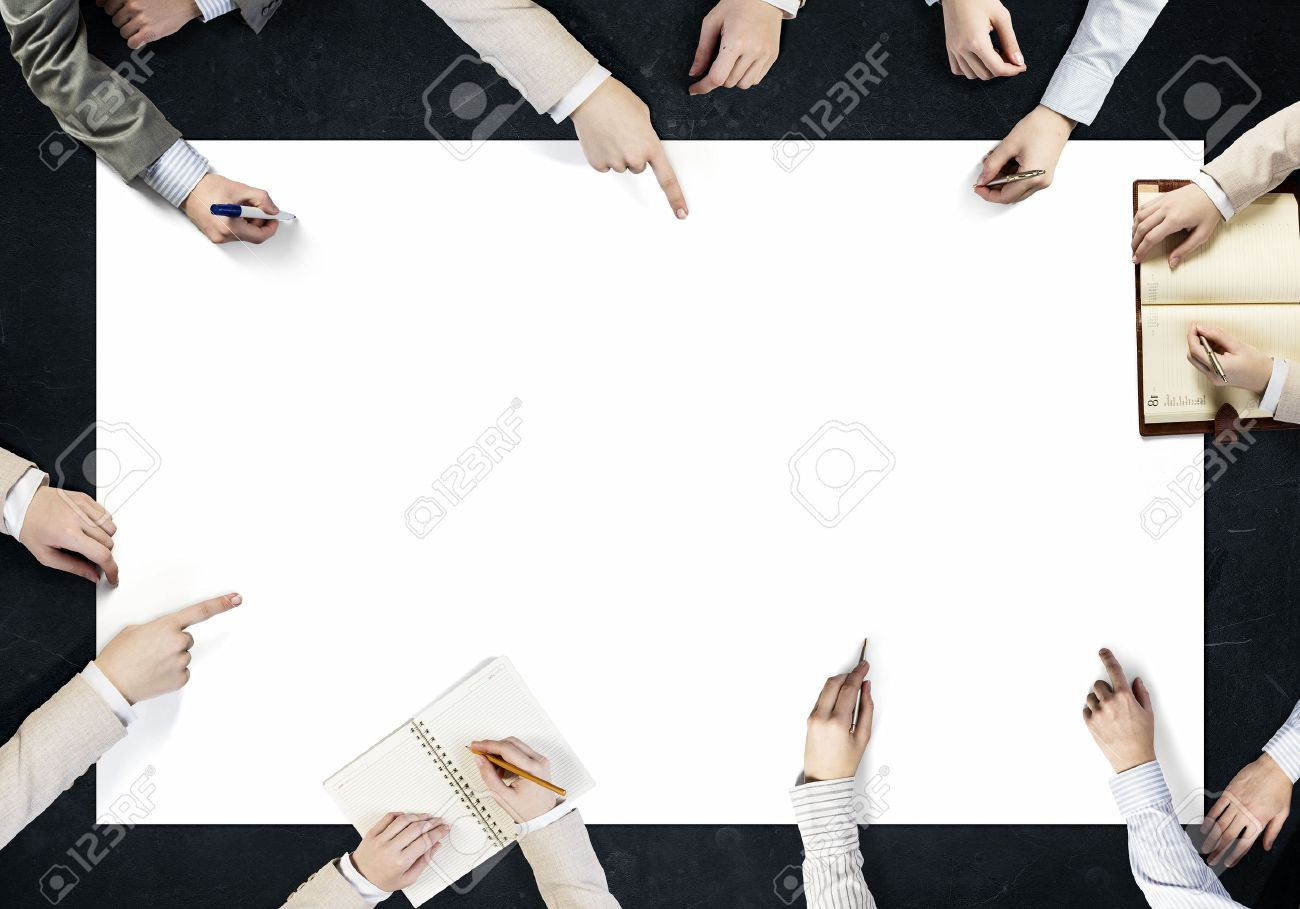 Top view of people hands drawing business teamwork strategy Banque d'images - 50683411