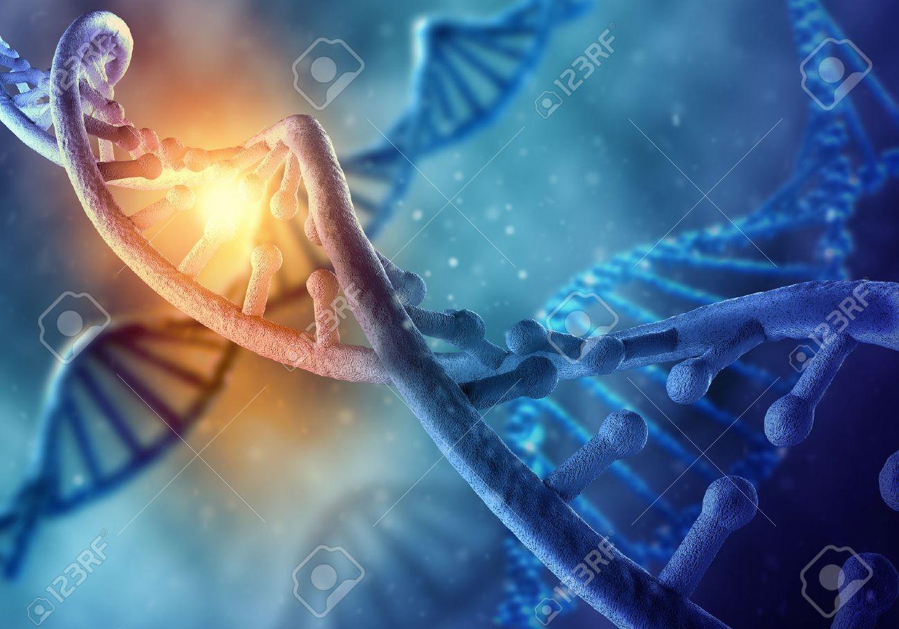 Biochimie concept de la science avec la molécule d'ADN sur fond bleu Banque d'images - 50765911