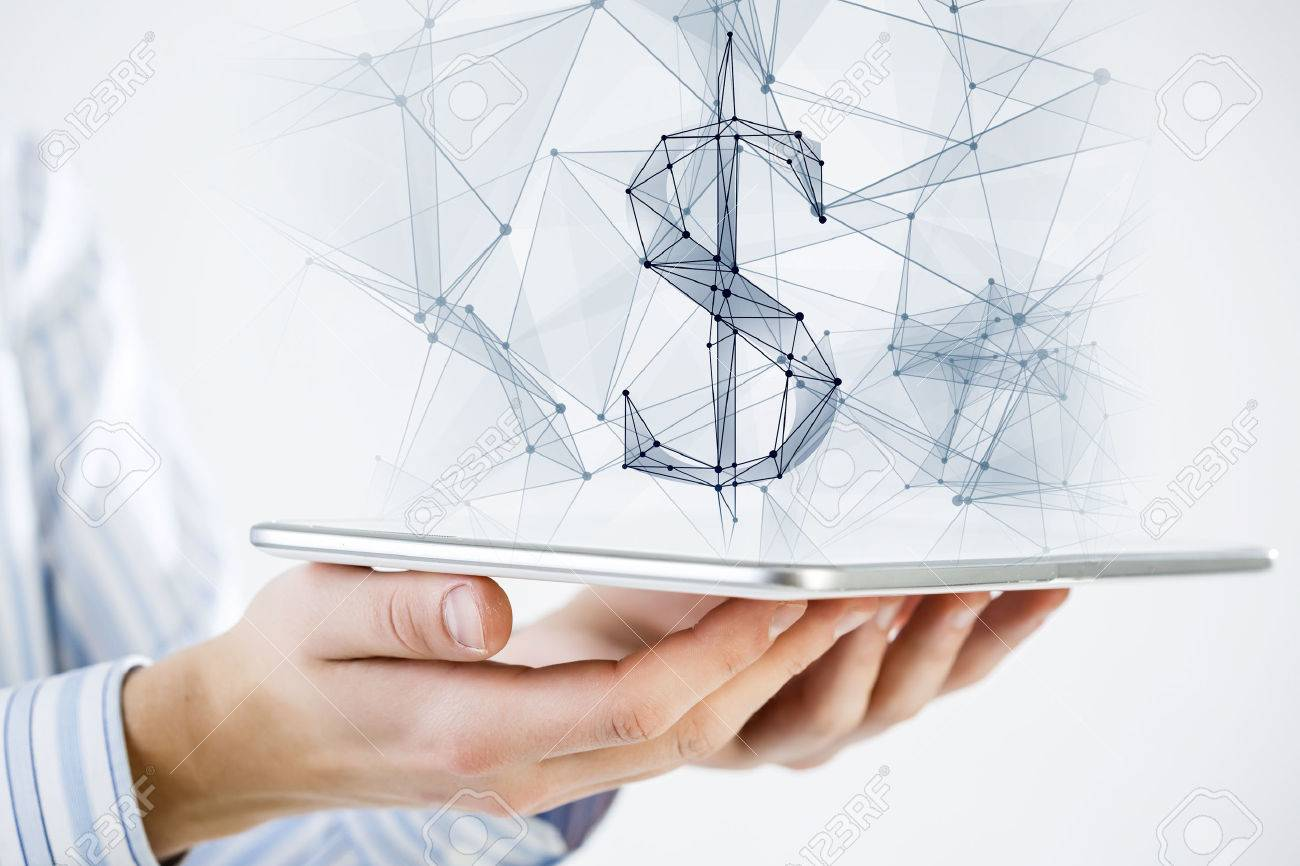Hand holding tablet with digital grid dollar sign on screen - 51231104