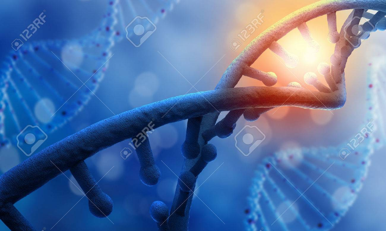 Biochemistry science concept with DNA molecule on blue background Standard-Bild - 51505925