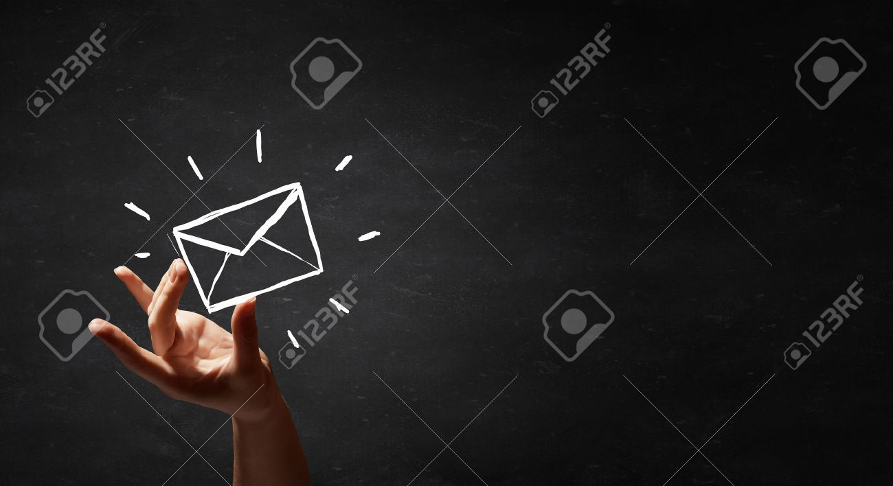 mailing list drawn by hand isolated on blackboard Standard-Bild - 51822472