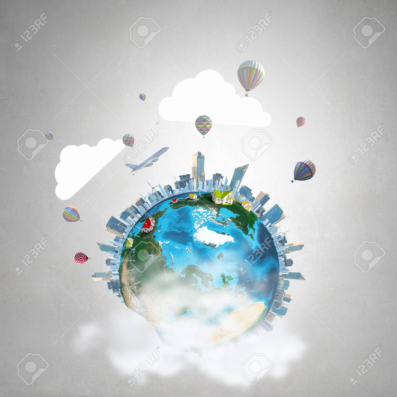 Whole world concept with Earth planet on concrete background. Elements of this image are furnished by NASA - 52896474