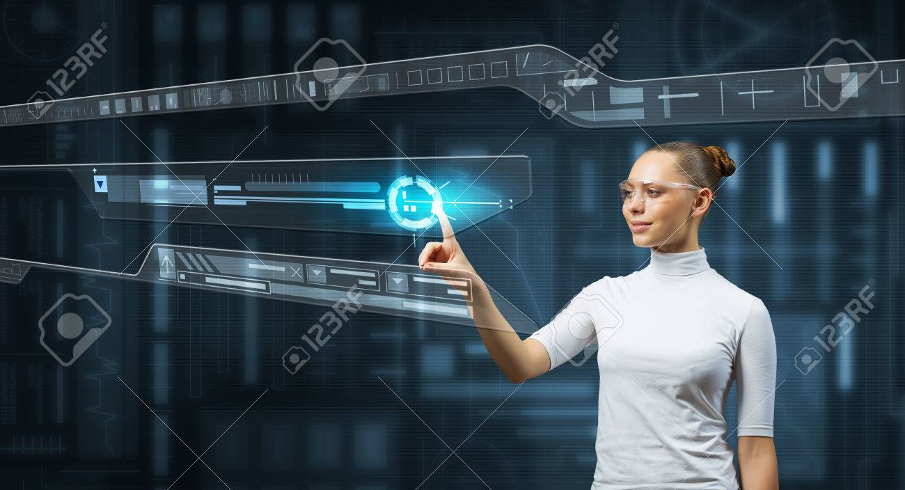 Attractive scientist woman in white touching virtual screen Standard-Bild - 54575212