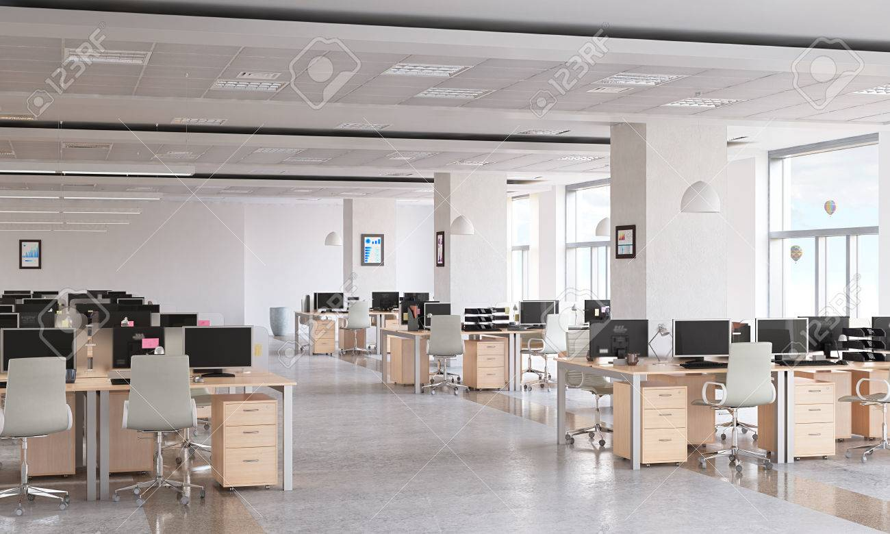 Modern empty office interior as design sample Standard-Bild - 57707373