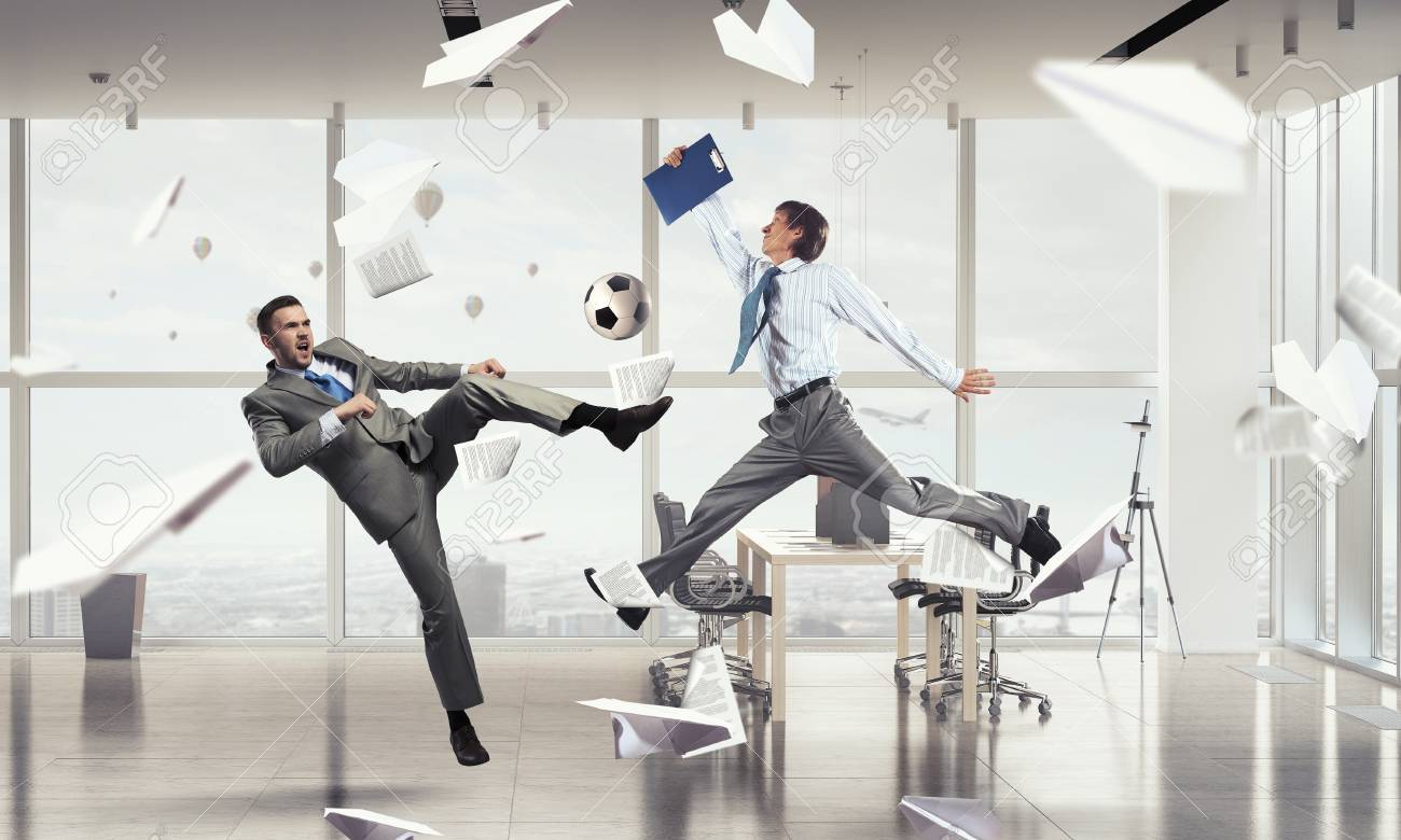 office play. Business People In Suit Modern Office Play Ball Stock Photo - 58061422