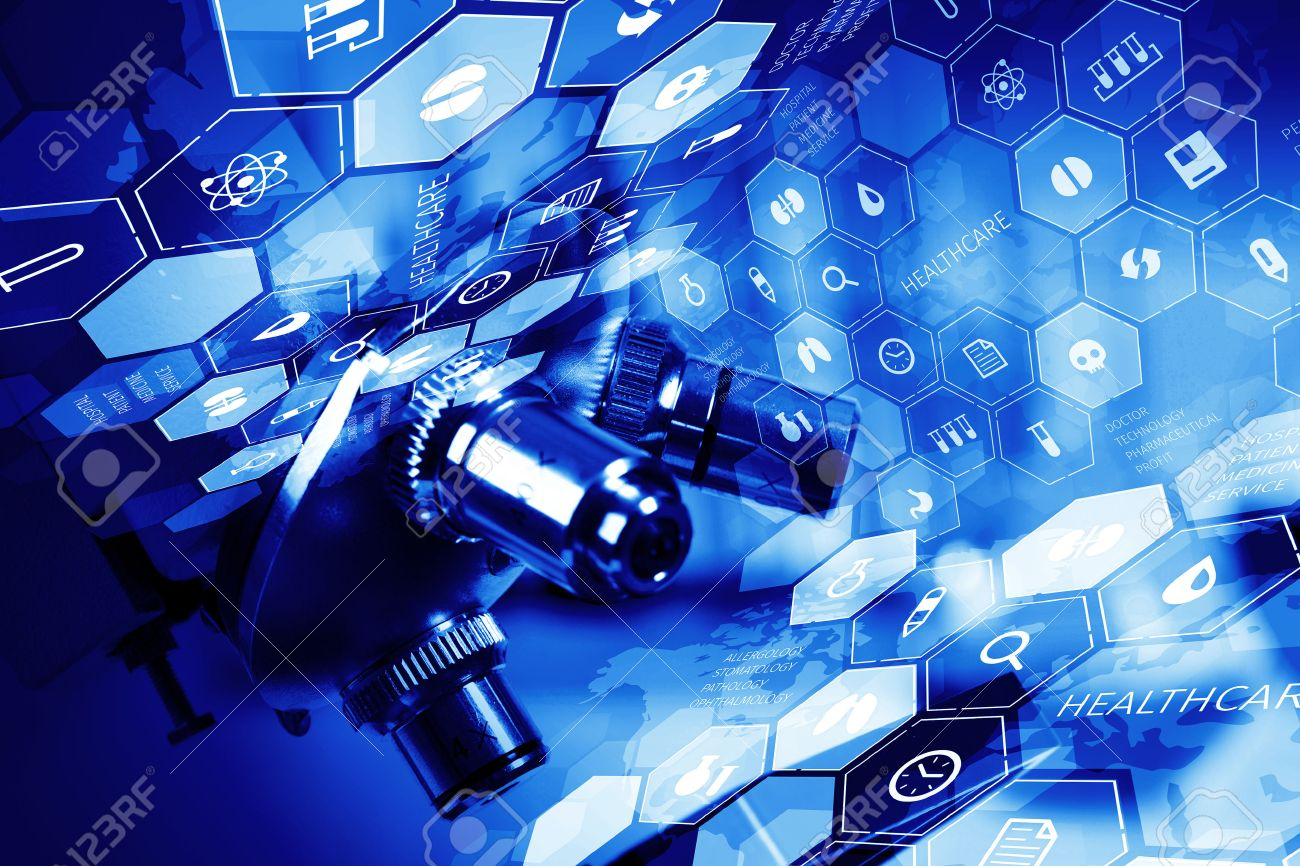 Medical or chemistry digital science background with microscope - 60674698