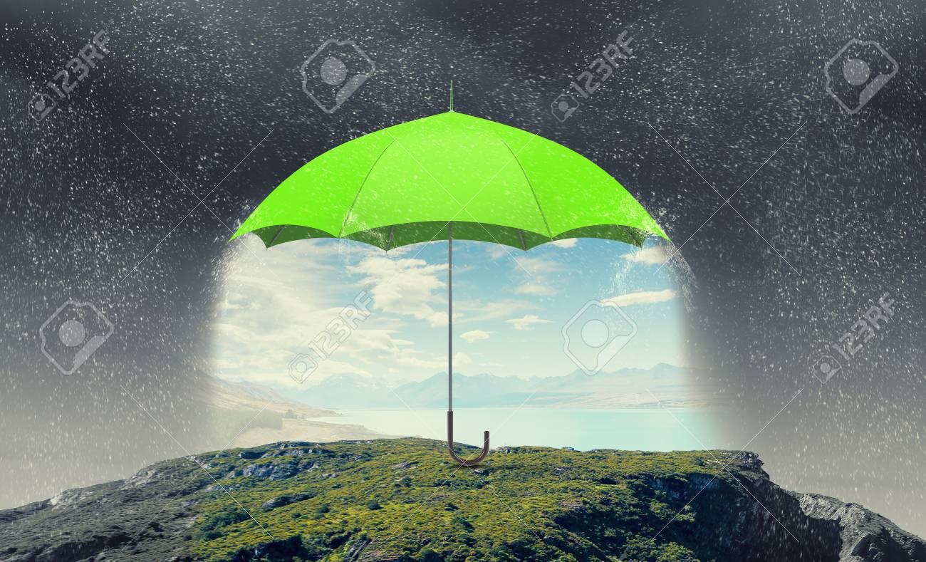 Conceptual Image With Color Umbrella In Sky Under Rain Stock Photo ...