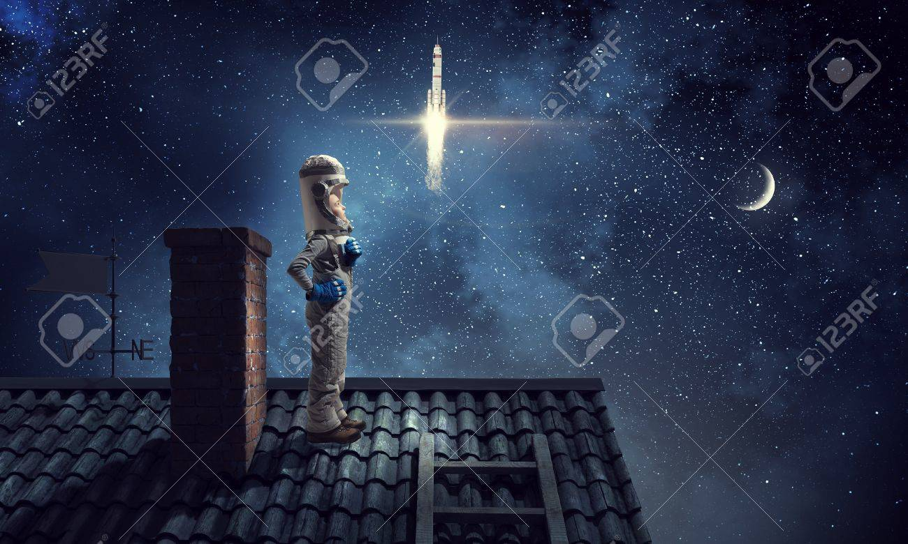 Funny Girl In Space Costume On House Roof Dreaming She Is
