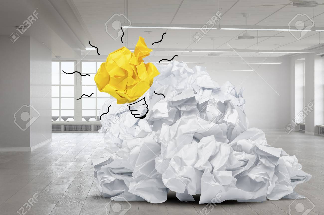 Ball Of Crumpled Paper As Symbol Of Creativity And Inspiration