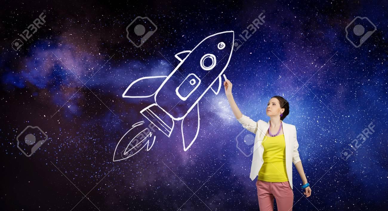9b7b253afe91 Ella está soñando para explorar el espacio. Técnica mixta Foto de archivo -  70389302