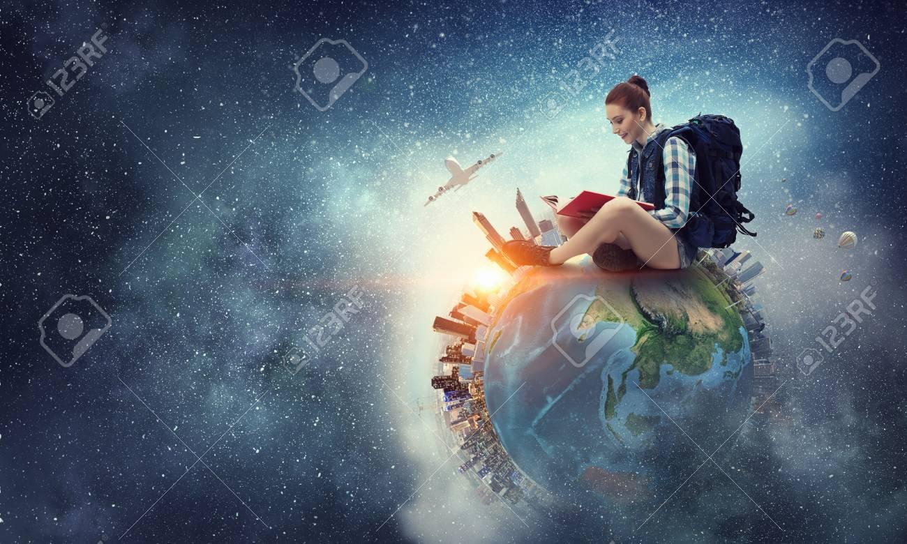 Dream to travel around the world. Mixed media - 81950901