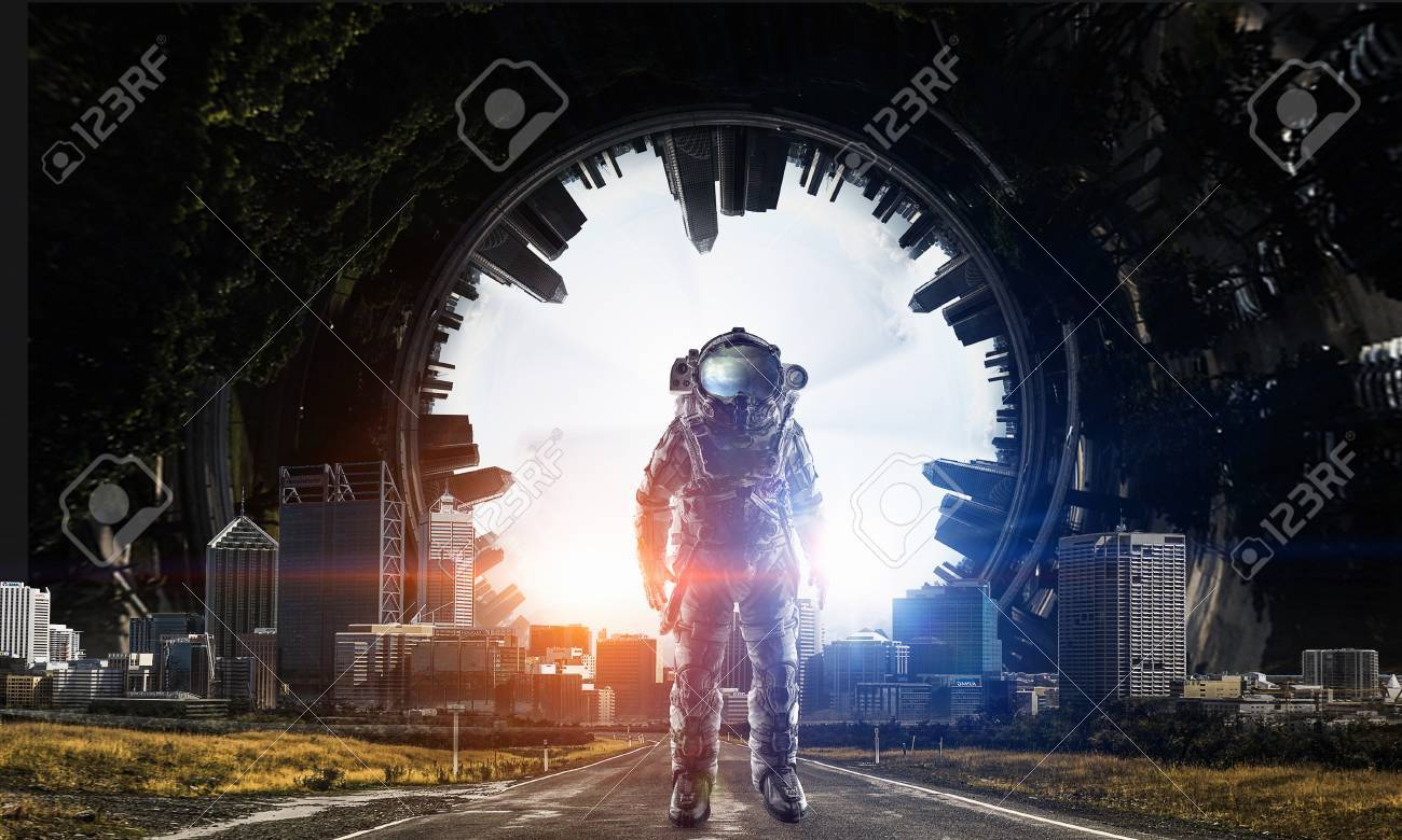 Adventure of spaceman. Mixed media - 84196794