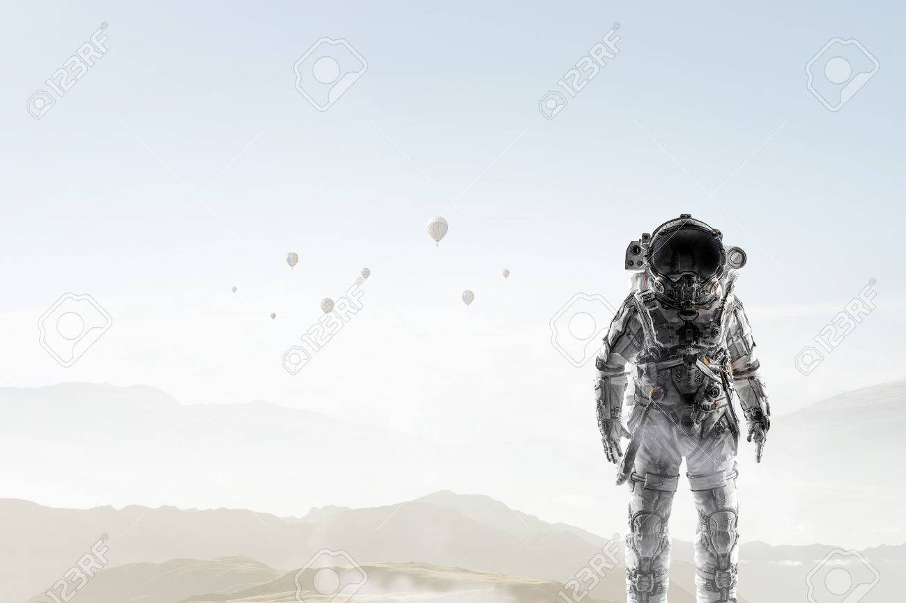 Space explorer in astronaut suit. Mixed media - 85126123