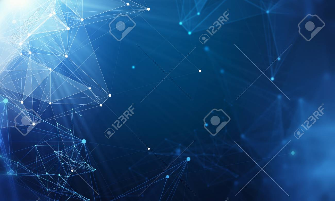 Abstract blue background with connection lines and dots. 3d rendering - 90683964