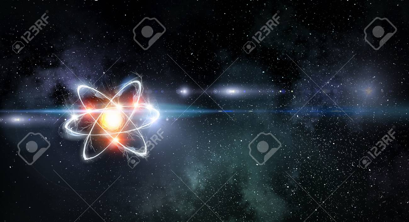 Atom molecule on space background as science concept. 3d rendering - 104714198